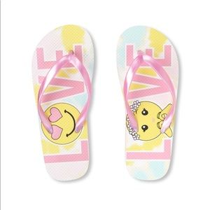 NWT Children's Place LOVE Flip Flops 12-13